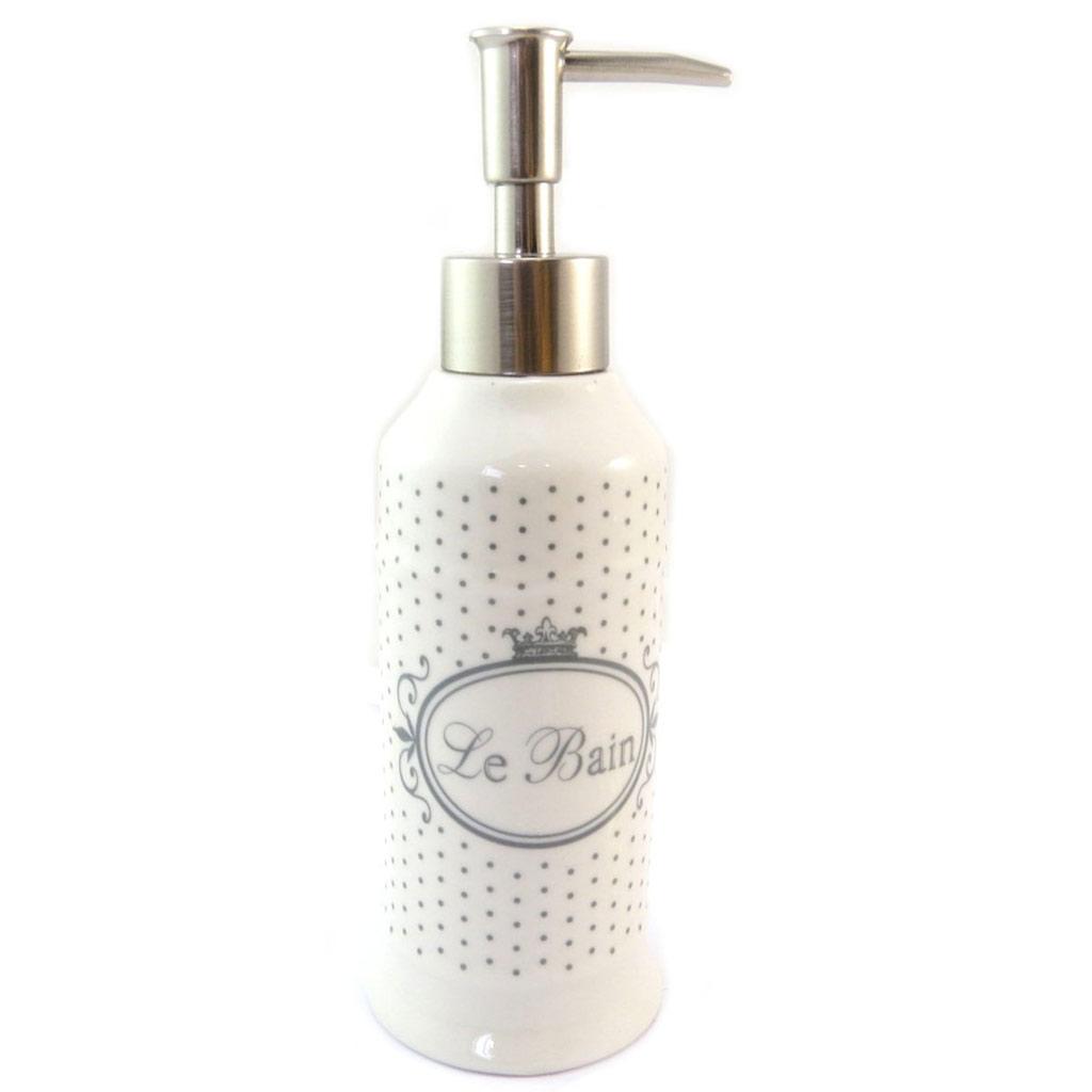 Distributeur de savon céramique \'Le Bain\' beige (rétro) - 20x65 cm - [P5699]