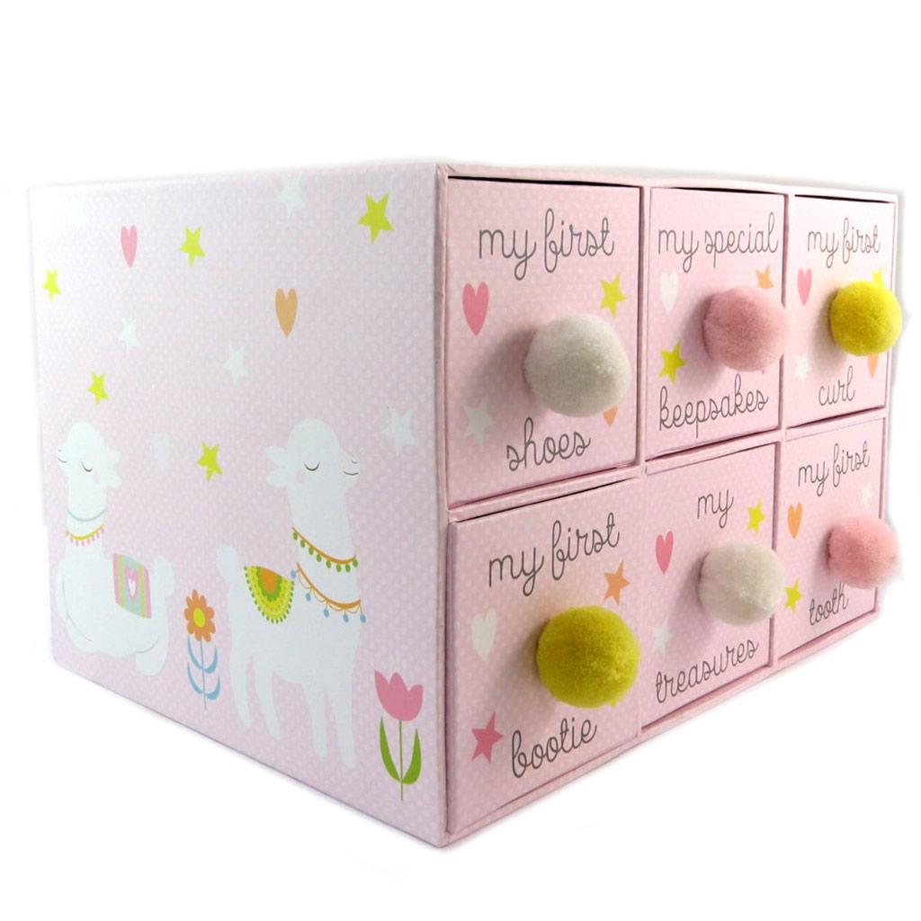Boîte à Souvenirs / boite à secrets \'1ers Instants\' rose - 287x222x19 cm - [P5719]
