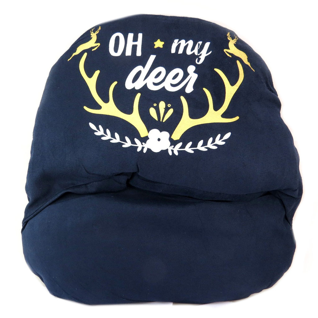 Géant chausson duo \'Montagne\' marine (Cerf - Oh my deer) - 44x39 cm - [P5779]