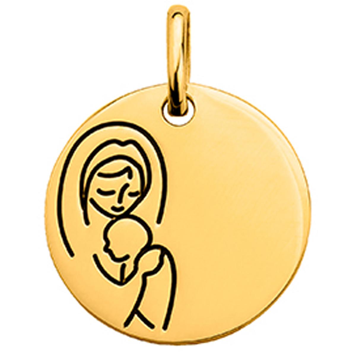 Pendentif plaqué or \'Vierge Marie\' doré - [N6957]