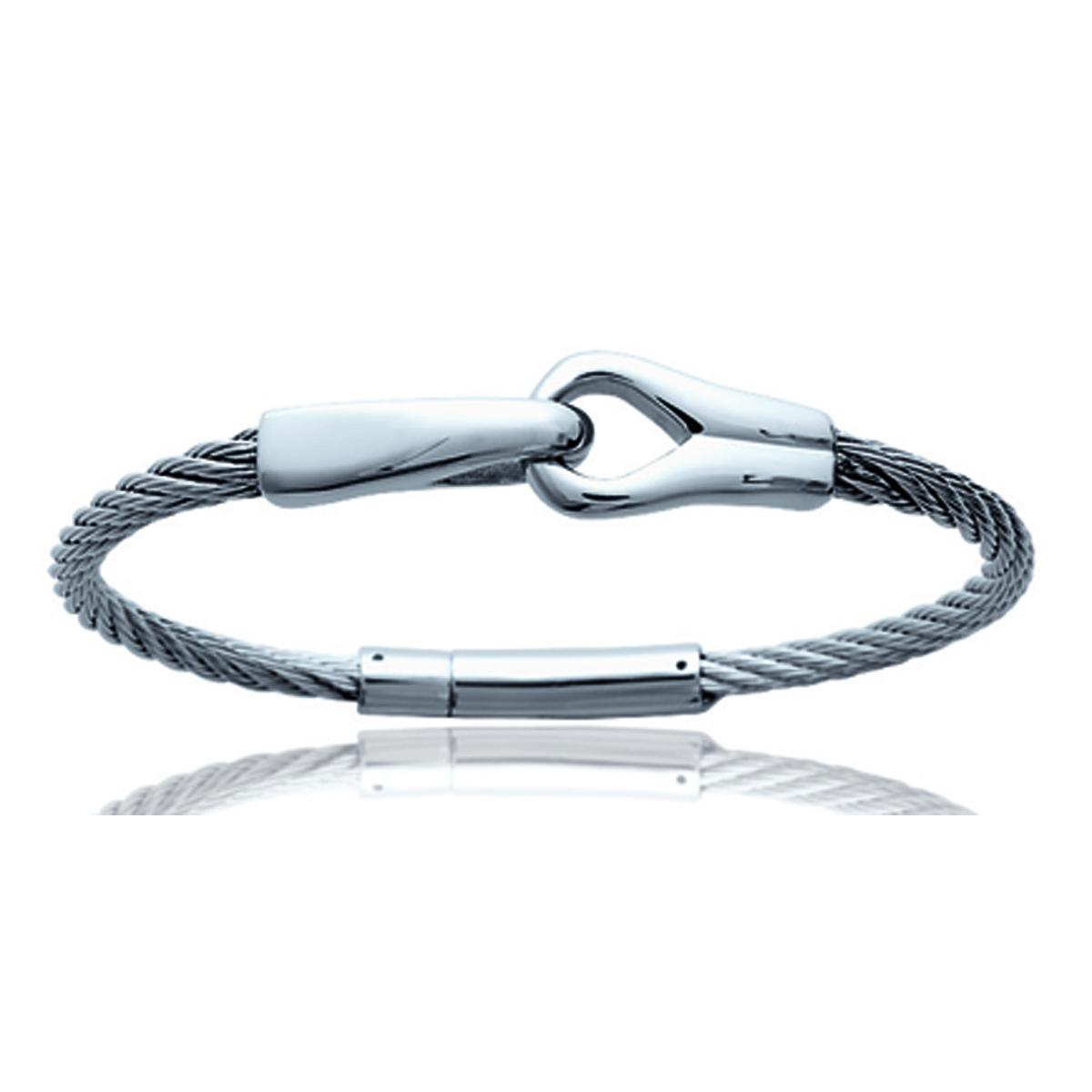 Bracelet Acier \'Peaceful\' argenté - 68 mm - [N6963]