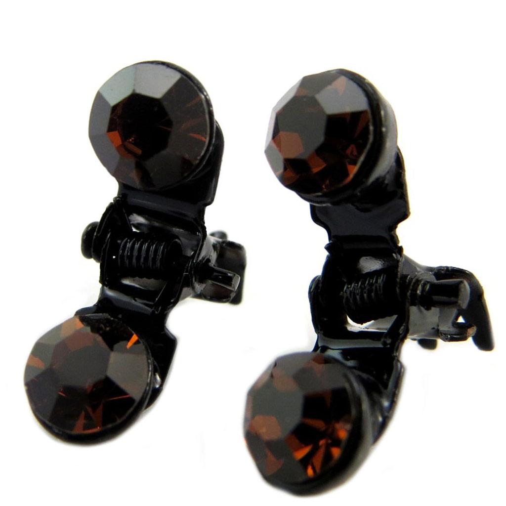 Paire minis pinces \'Sissi\' marron - 7 mm - [P5923]