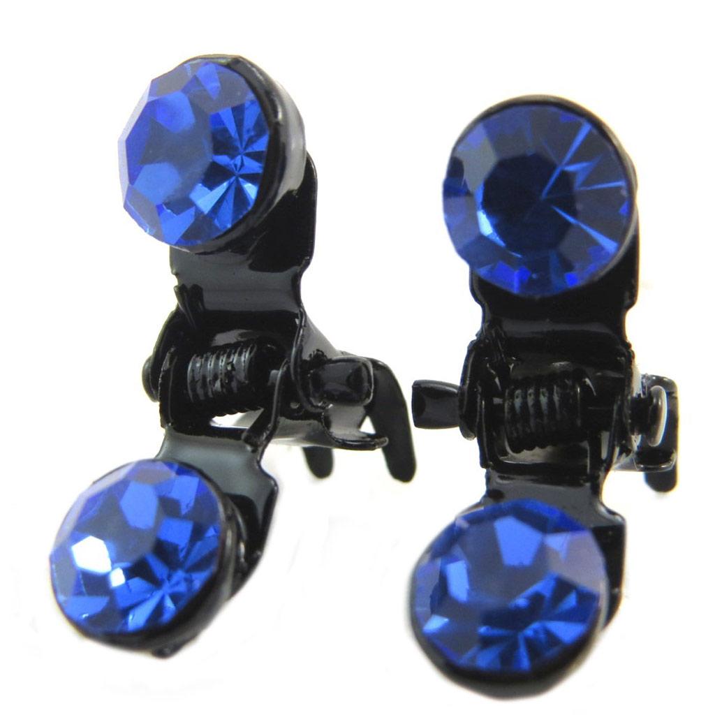 Paire minis pinces \'Sissi\' bleu - 7 mm - [P5927]