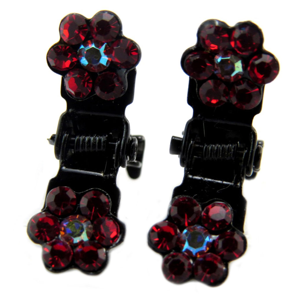 Paire minis pinces \'Sissi\' rouge (fleurs) - 8 mm - [P5929]