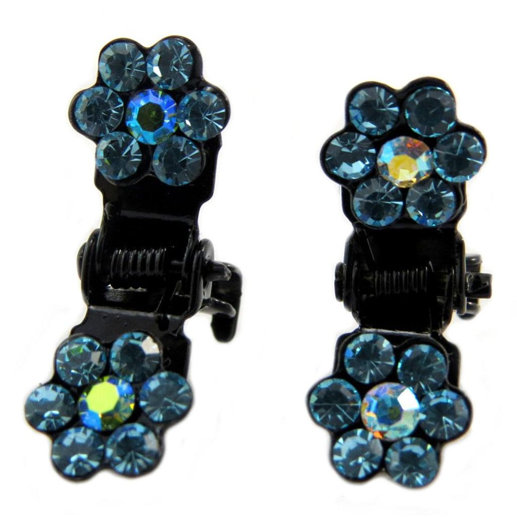 Paire minis pinces \'Sissi\' turquoise (fleurs) - 8 mm - [P5931]