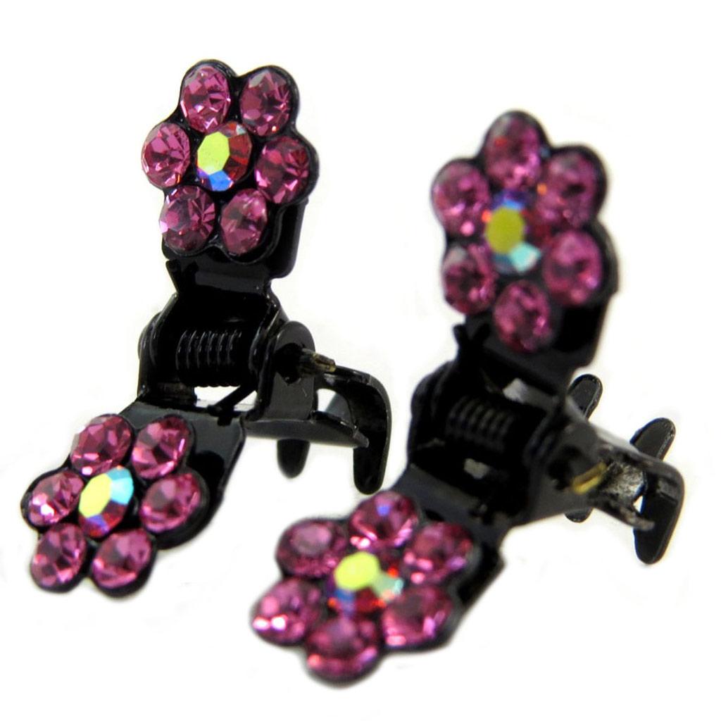 Paire minis pinces \'Sissi\' rose (fleurs) - 8 mm - [P5939]