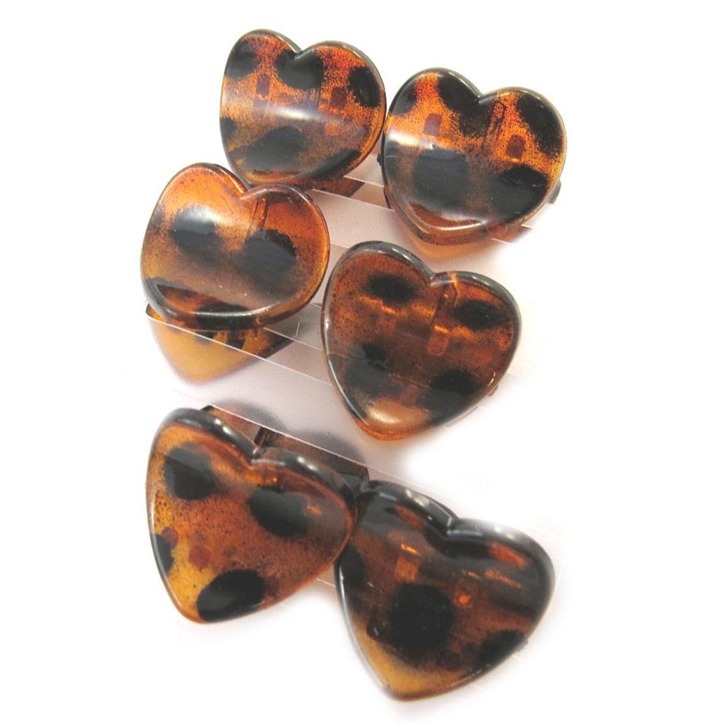 Set de 6 mini pinces \'Simplicité\' marron (love) - [N7081]