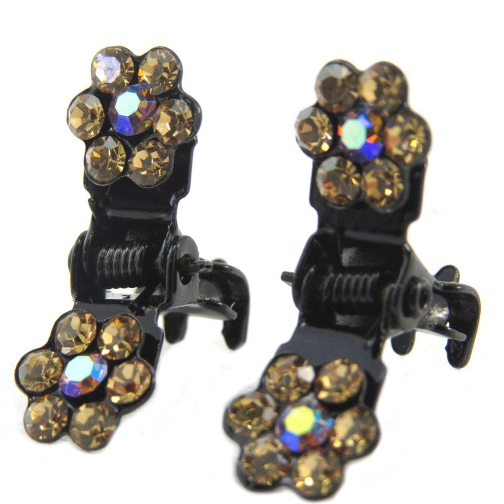 Paire minis pinces \'Sissi\' marron (fleurs) - 8 mm - [P5940]