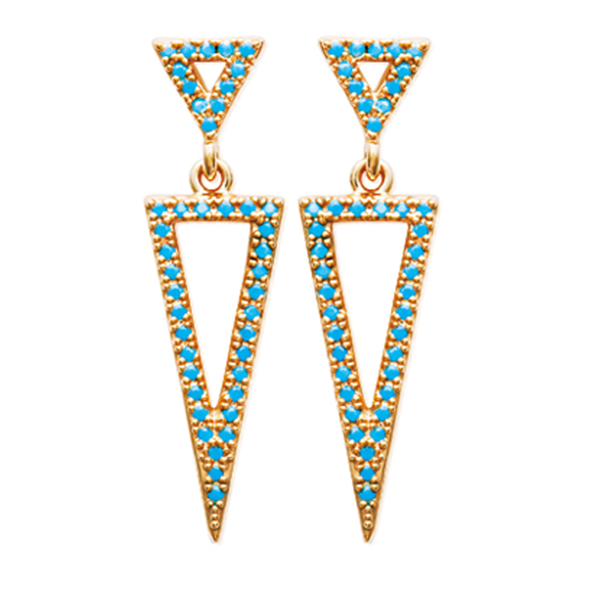 Boucles \'Navajos\' turquoise doré (triangles) - [N7142]