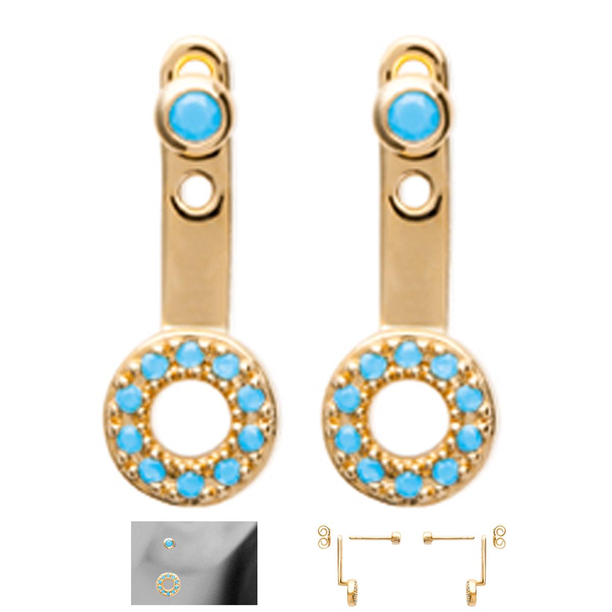 Lobes d\'oreilles plaqué or \'Navajos\' turquoise doré (cercles) - 15x6 mm - [N7143]