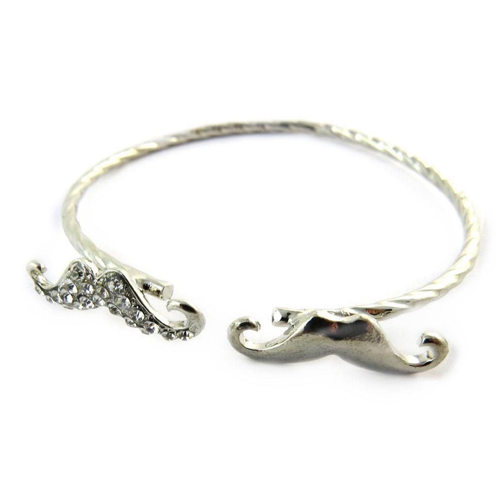 Bracelet \'Moustaches\' argenté - [N7192]
