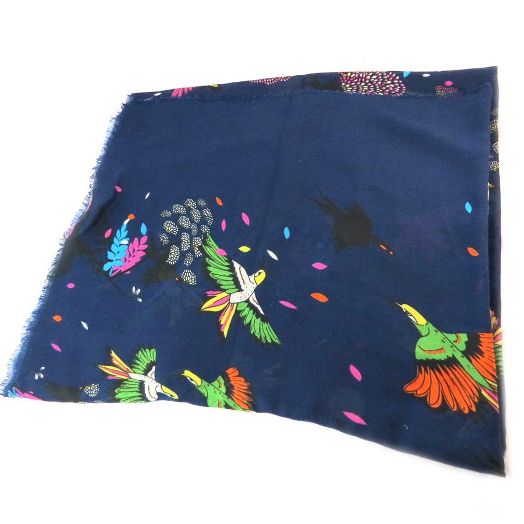 Foulard \'Lollipops\' marine multicolore (mésanges) - 180x60 cm - [N7378]