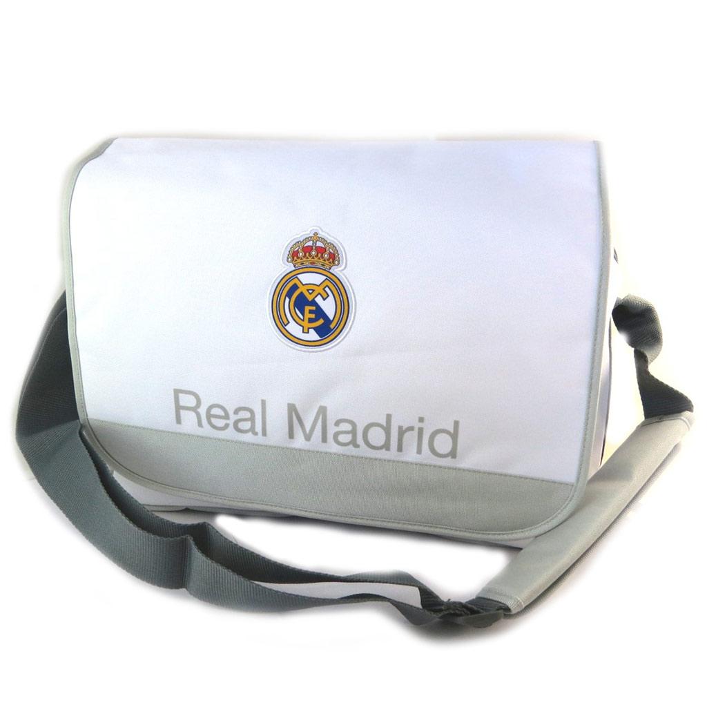 Sac bandoulière \'Real Madrid\' blanc gris - 40x28x10 cm (spécial ordinateur 156\') - [N7473]