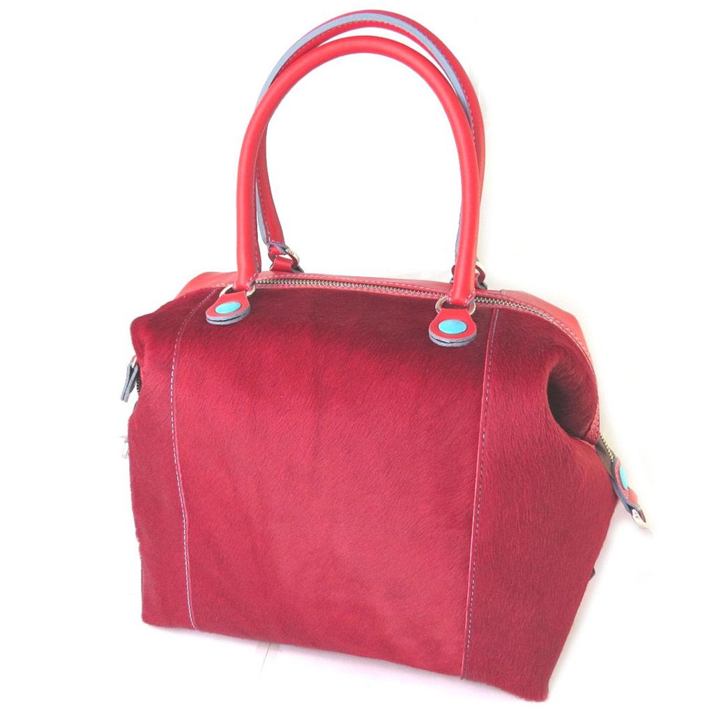 Sac cuir 3 en 1 \'Gabs\' rouge (bimatières) (L) - 43x37x5 cm - [N7609]