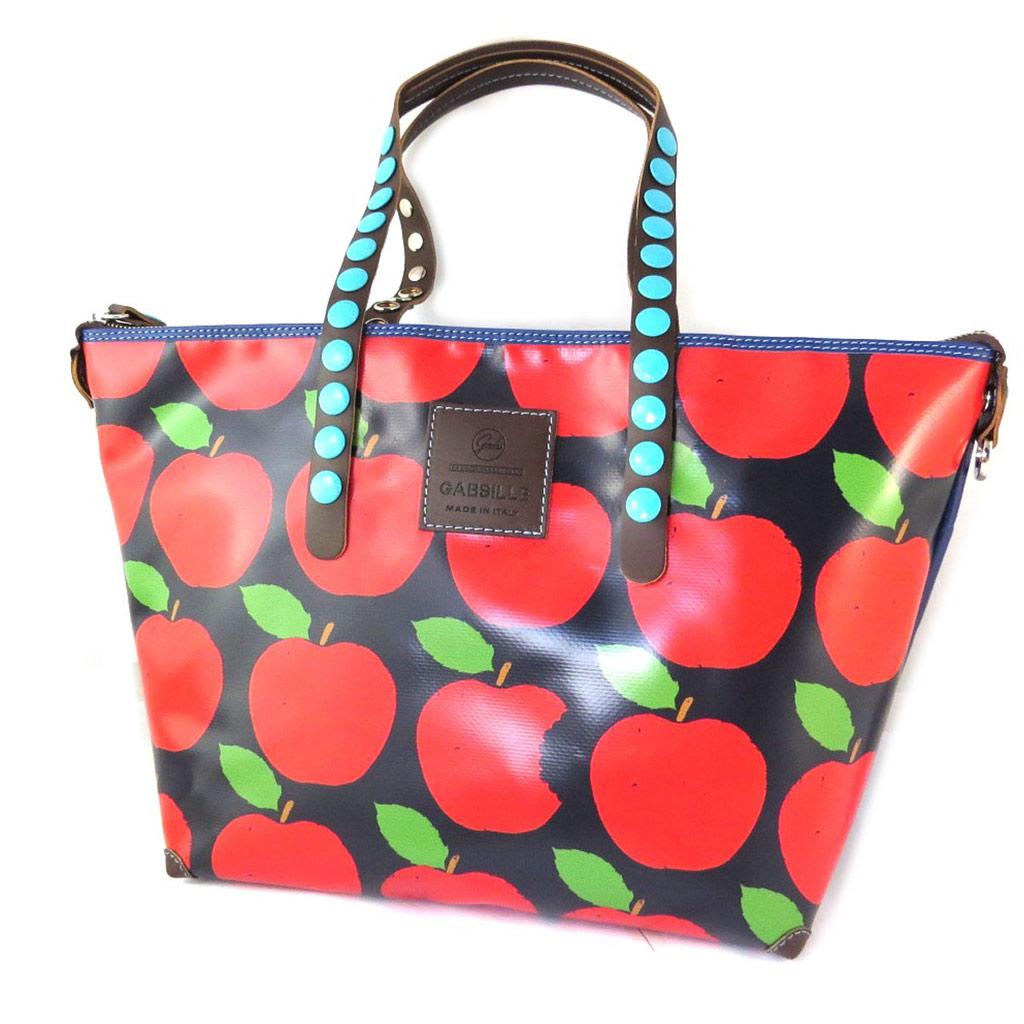 Sac 2 en 1 \'Gabs\' rouge noir (pommes) (L) - 45x27x17 cm - [N7616]