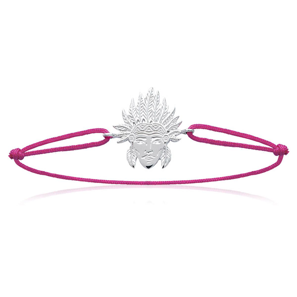 Bracelet Argent \'Navajos\' rose (rhodié) - 19x15 mm - [N7683]