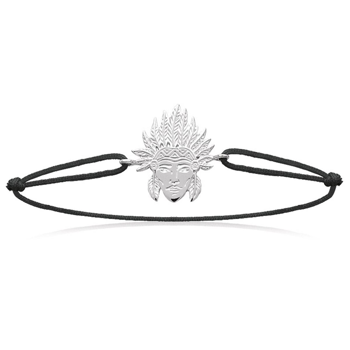 Bracelet Argent \'Navajos\' noir (rhodié) - 19x15 mm - [N7684]