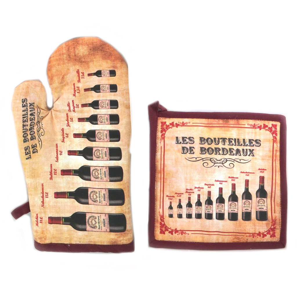 Set de gant + manique \'Les Bouteilles de Bordeaux\' marron - [N7962]