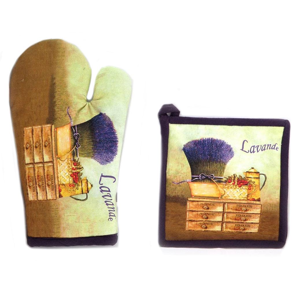 Set de gant + manique \'Lavande\' vert violet marron - [N7964]