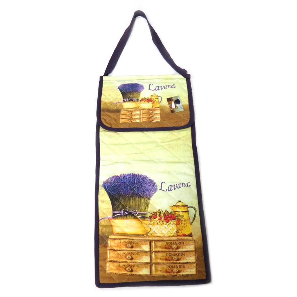 Sac à pain coton \'Lavande\' violet vert beige - 67x30 cm - [N7965]
