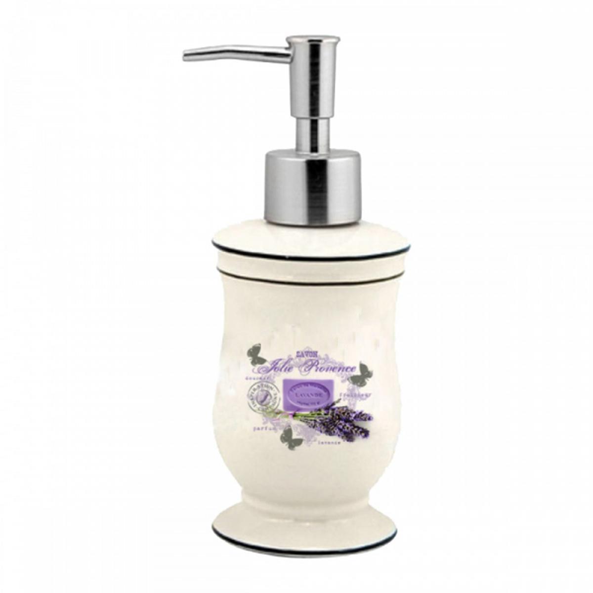 Distributeur de savon céramique \'Lavande Jolie Provence\' beige violet (rétro) - 175x85 cm - [N7966]