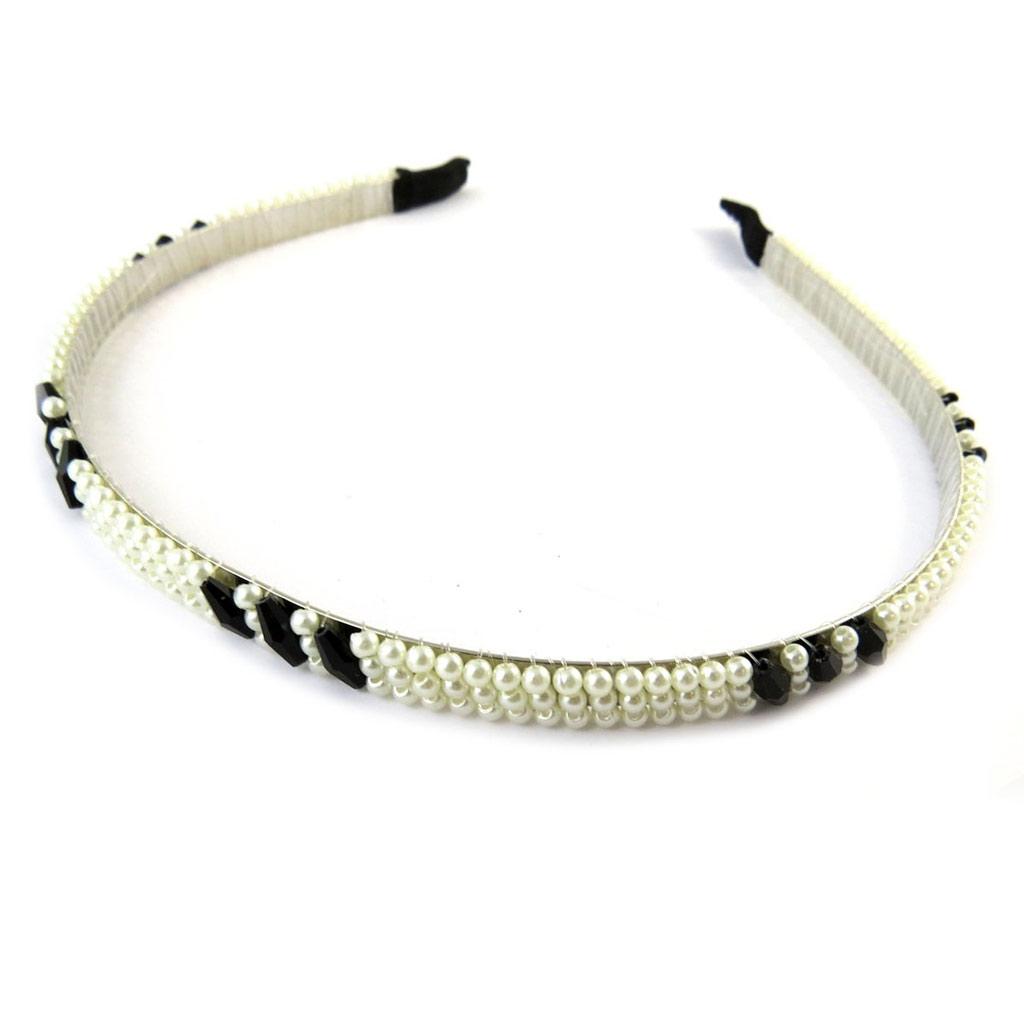 Serre-Tête \'Sissi\' noir ivoire - [N8223]