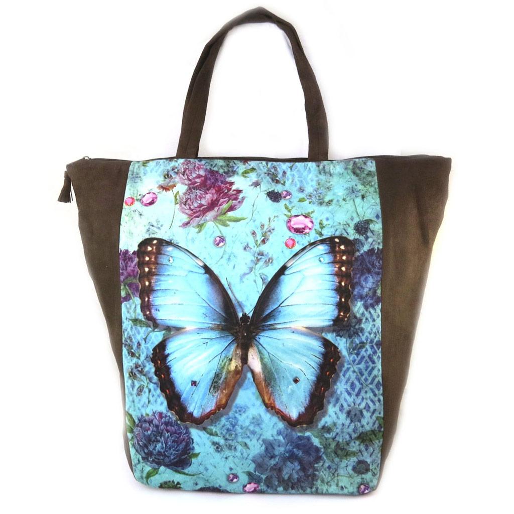 Grand cabas \'Papillon Imaginaire\' bleu marron - 47x40x85 cm - [N8580]