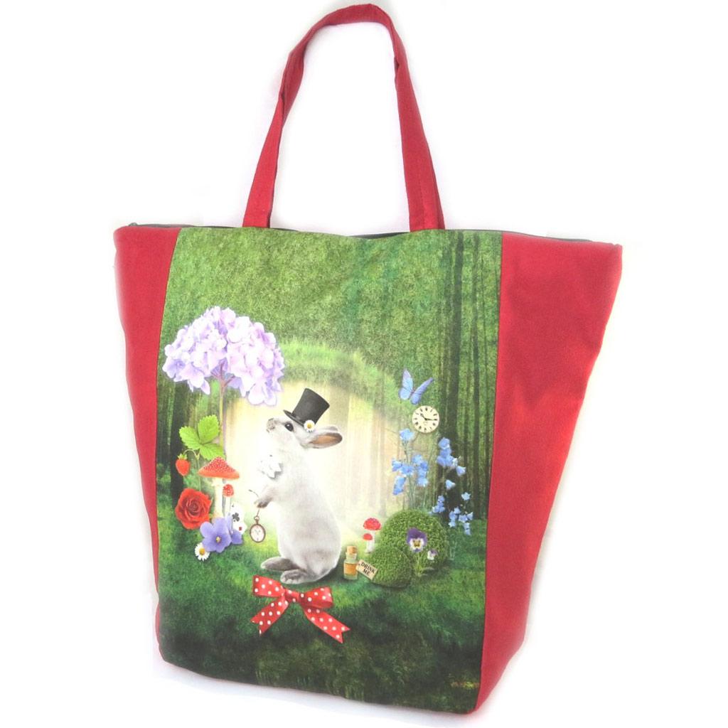 Grand cabas \'Lapin Wonderland\' vert rouge - 47x40x85 cm - [N8582]