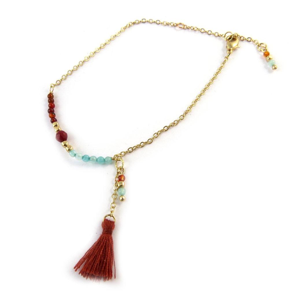Bracelet \'Altaï\' rouge vert doré - [N9226]
