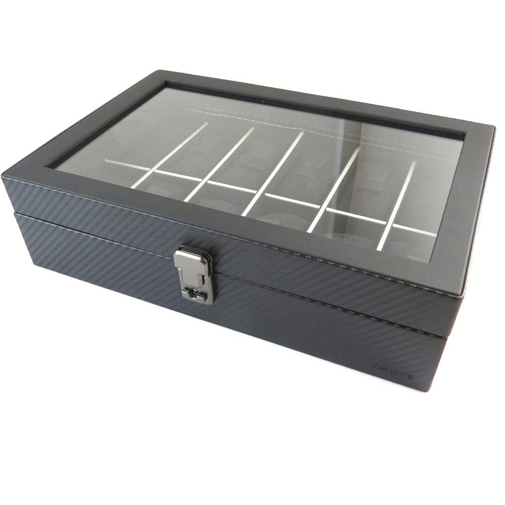 Coffret à montres \'Graphite Design\' noir (12 montres) - 315x21x85 cm - [N9384]