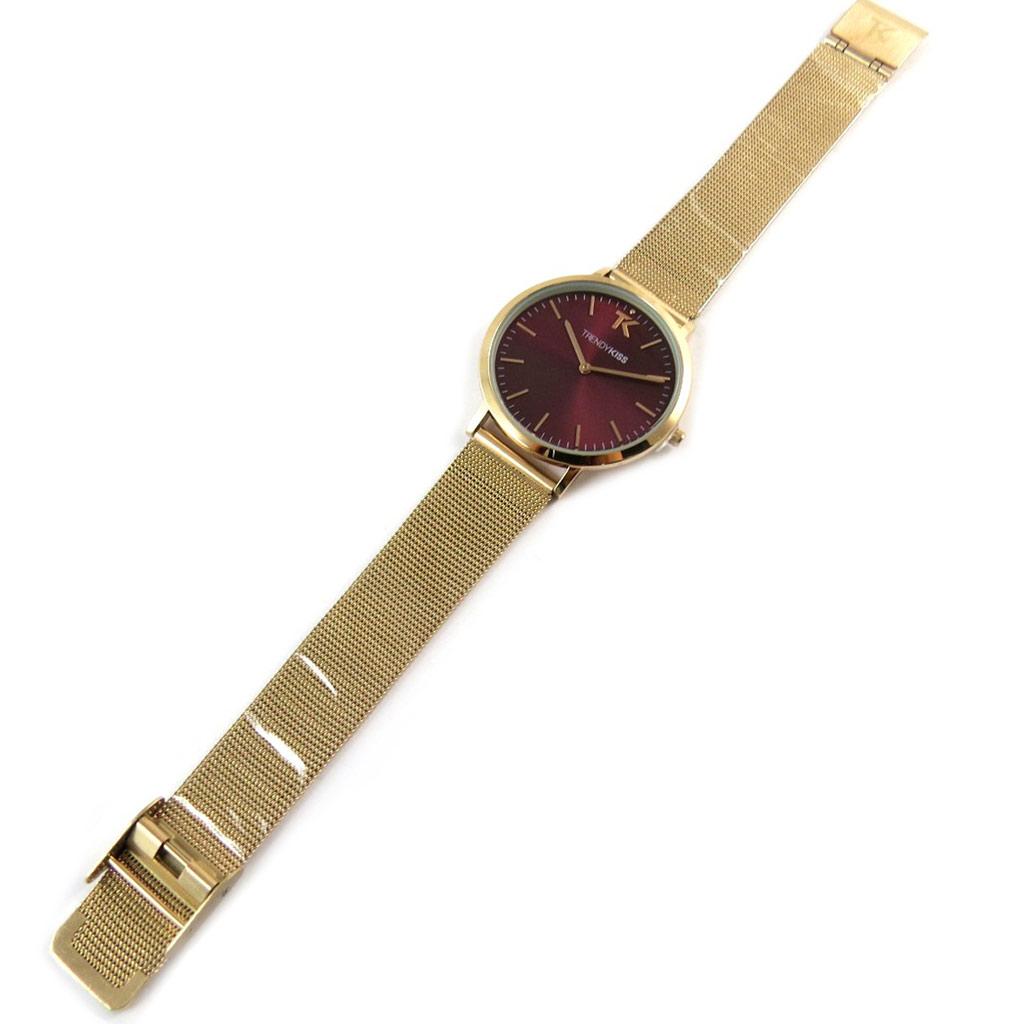 Montre analogique femme \'Trendy\' bordeaux doré rosé - [N9480]