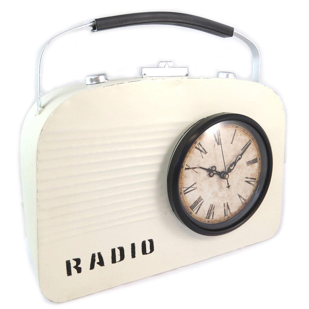 Horloge métal \'Vintage Design\' radio ivoire - [N9612]