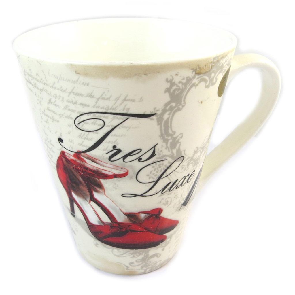 Mug porcelaine \'Belle Epoque\' beige rouge - 11x9 cm - [N9631]