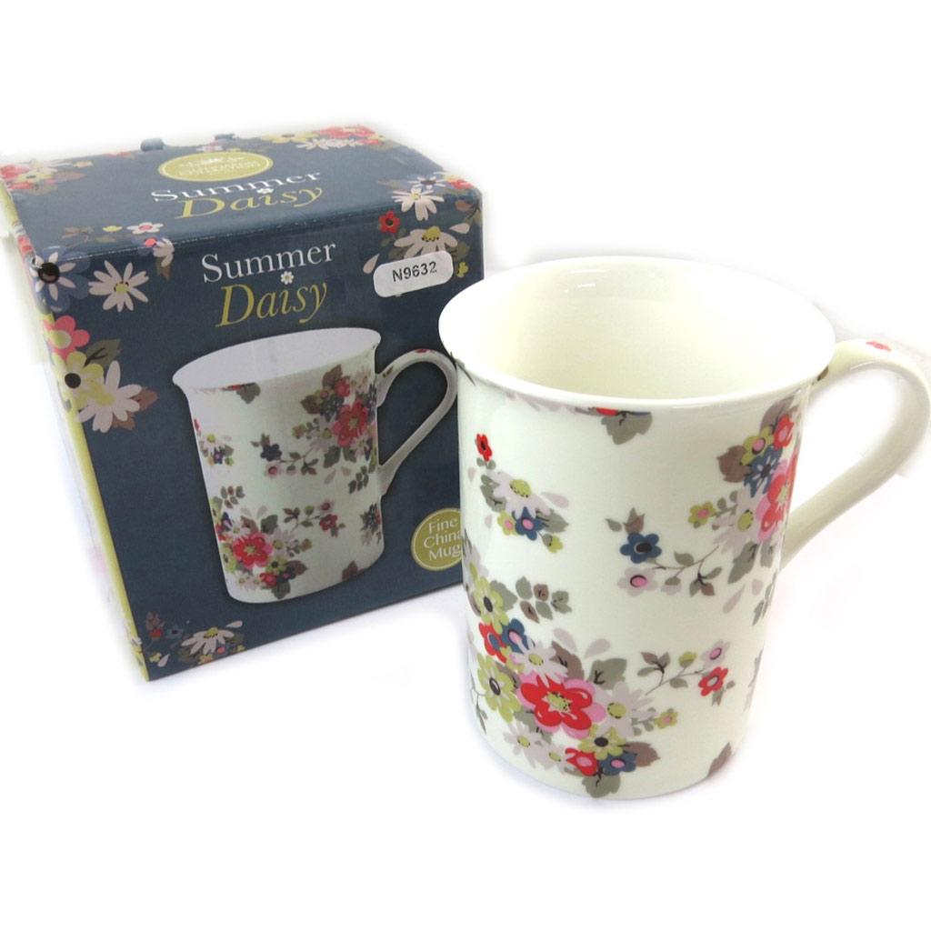 Mug porcelaine \'Liberty\' beige multicolore - 10x75 cm - [N9632]