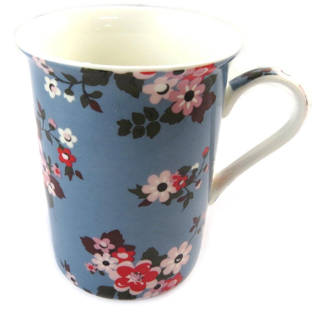 Mug porcelaine \'Liberty\' bleu multicolore - 10x75 cm - [N9633]