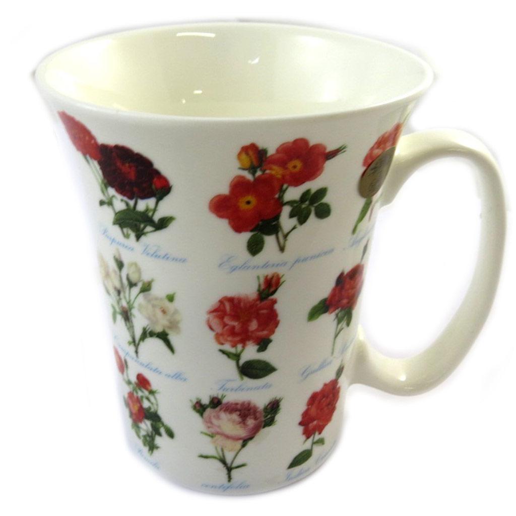 Mug porcelaine \'Roses\' blanc rose - 11x9 cm - [N9636]