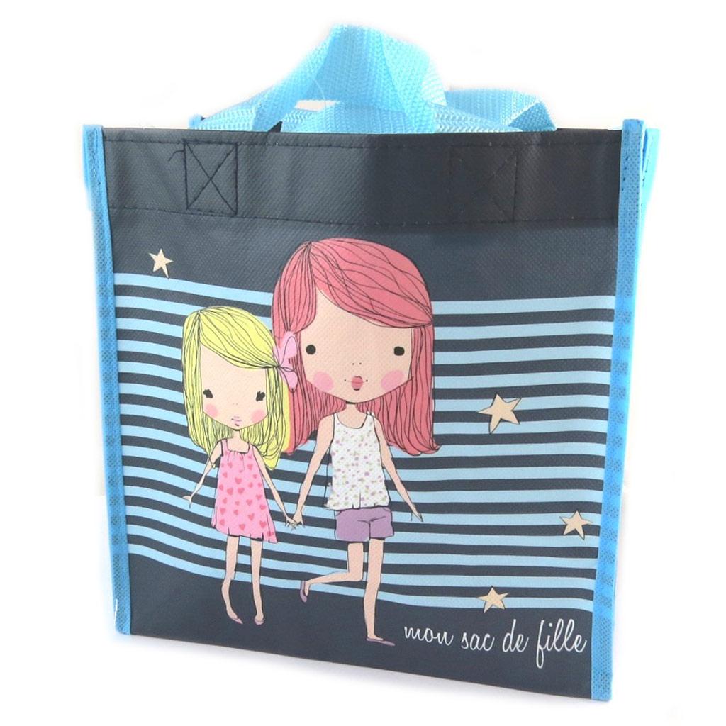 Petit sac shopping \'Lolita\' bleu marine - 215x215x10 cm - [N9668]