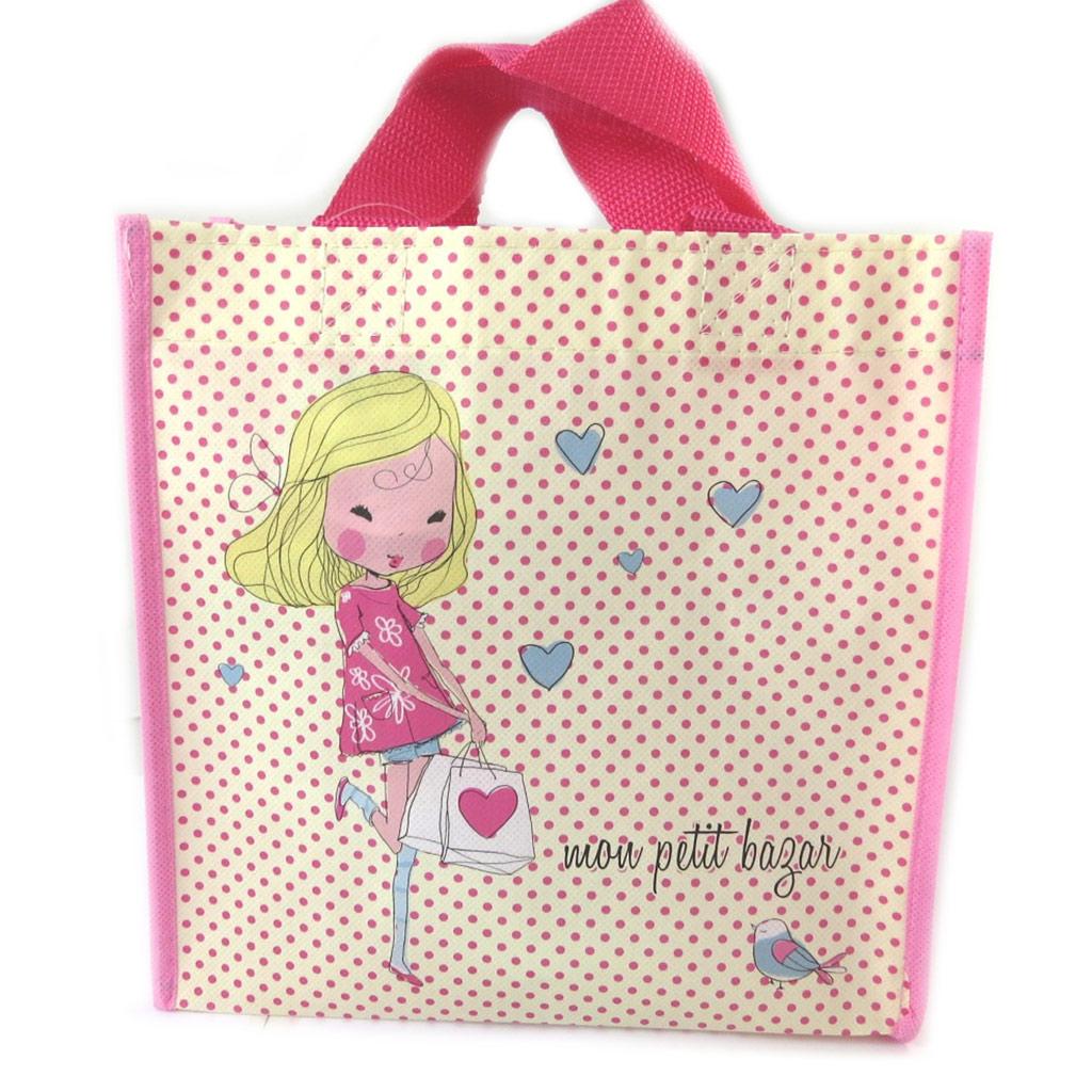 Petit sac shopping \'Lolita\' beige rose - 215x215x10 cm - [N9670]