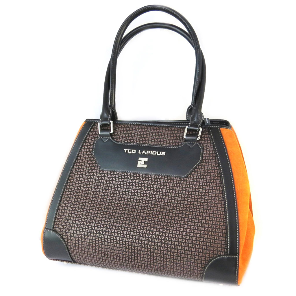 Sac \'Ted lapidus\' marron orange - 35x29x14 cm - [N9673]