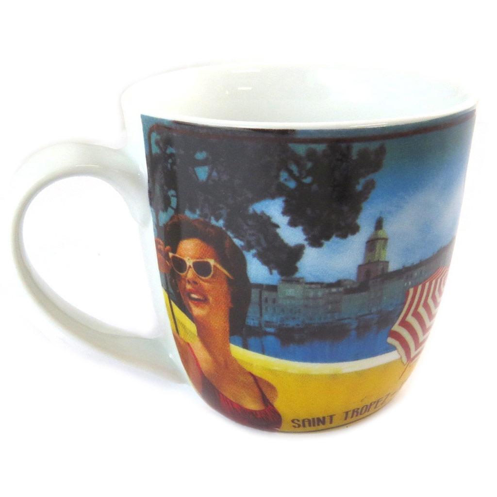 Mug porcelaine \'Côté d\'Azur\' bleu jaune - [N9707]