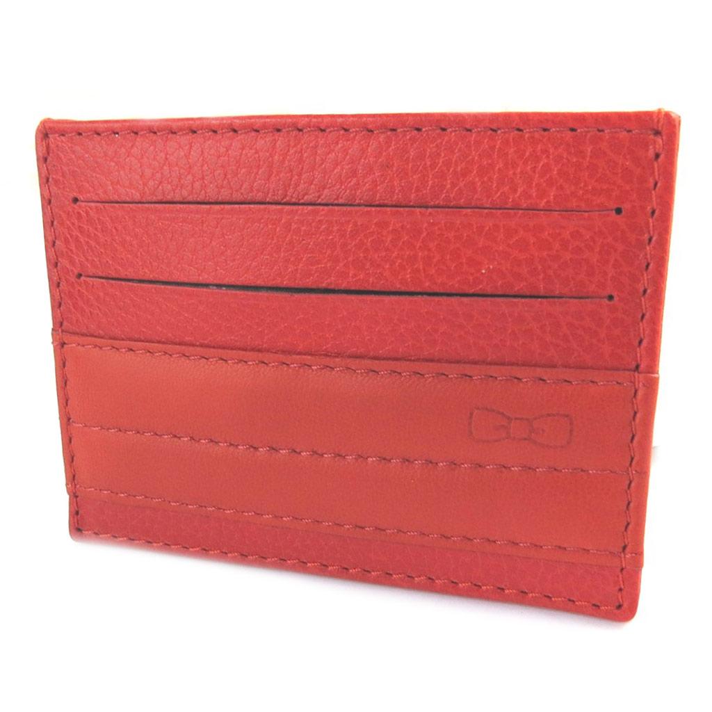 Porte-cartes cuir \'Eden Park\' rouge (ultra plat) - 10x75 cm - [N9772]