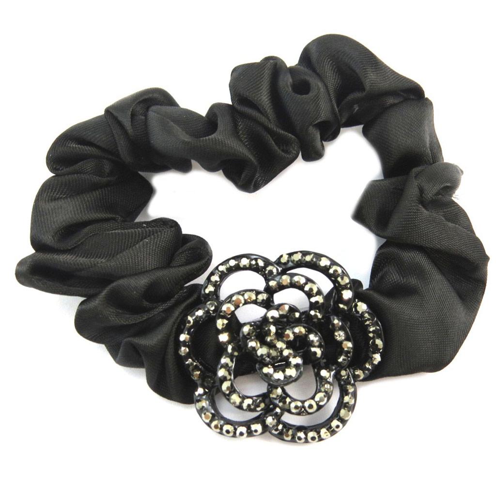 Chouchou créateur \'Sissi\' noir gris (satin) - largeur 2 cm, fleur 3 cm - [P6094]
