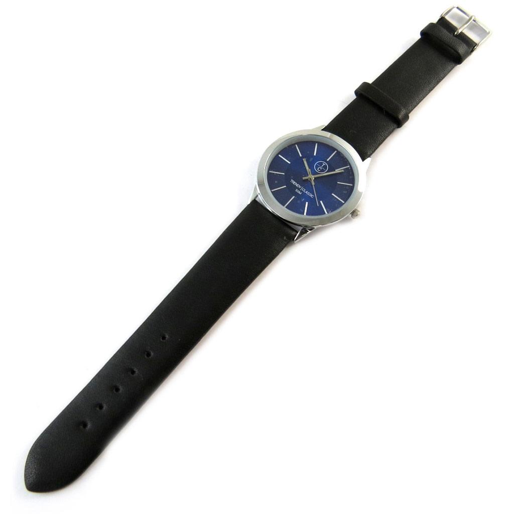 Montre créateur \'Trendy\' bleu noir argenté  - [N9859]