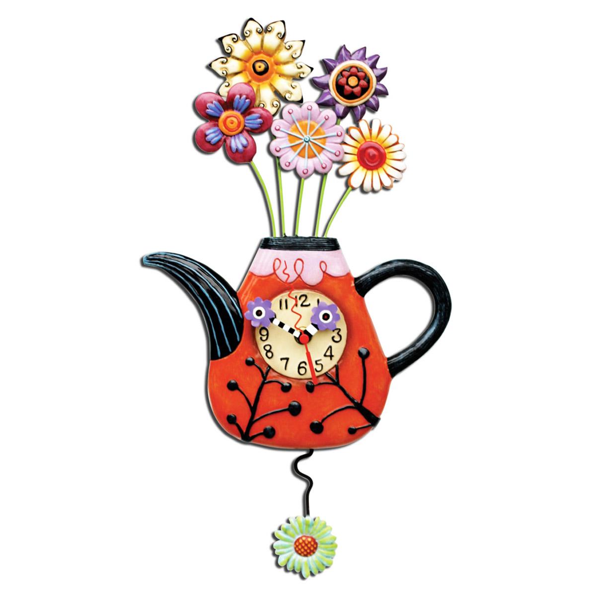 Horloge Murale \'Allen Designs\' multicolore (théière pot de fleurs) - 43x23 cm - [P6179]