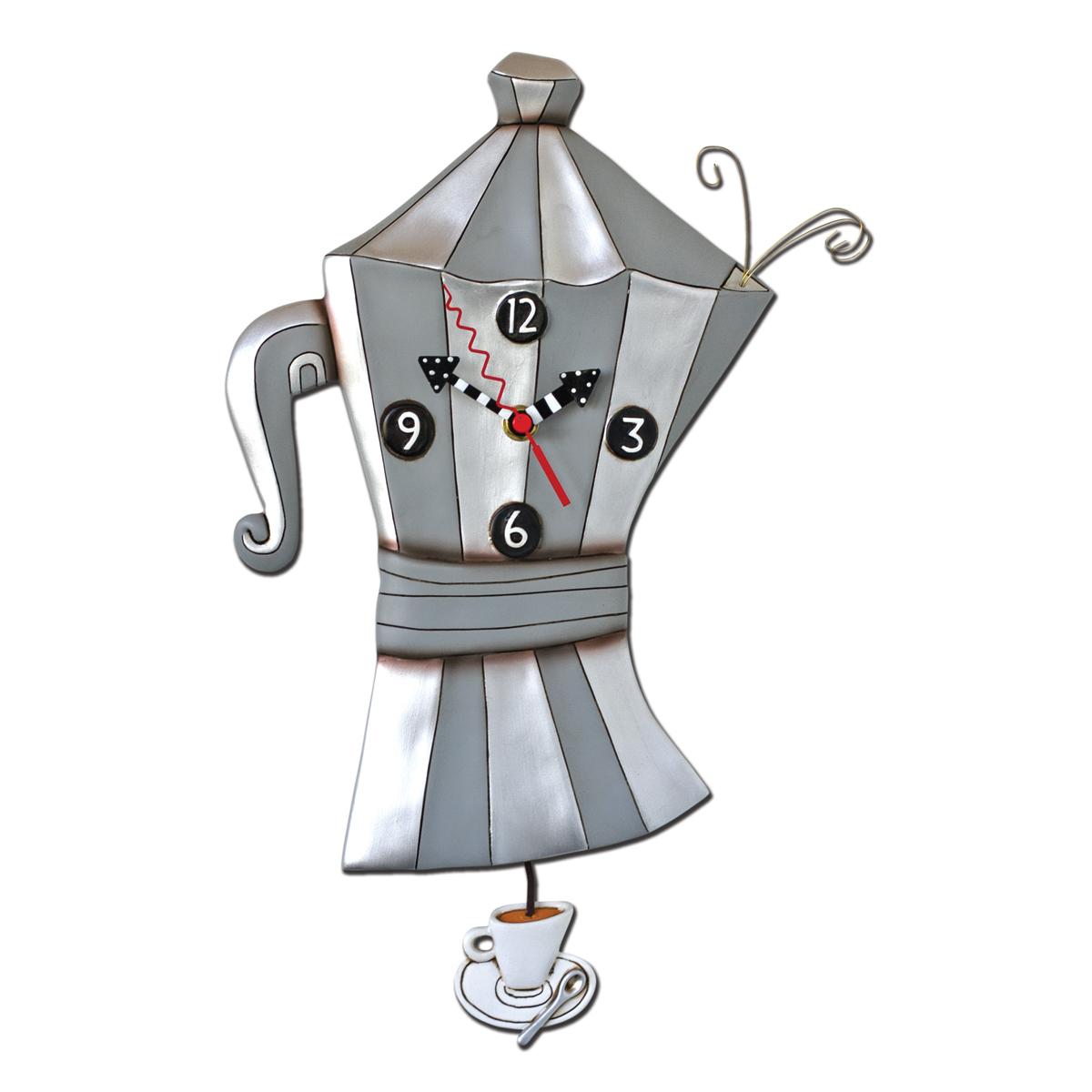 Horloge Murale \'Allen Designs\' gris (Cafetière) - 375x24 cm - [P6180]