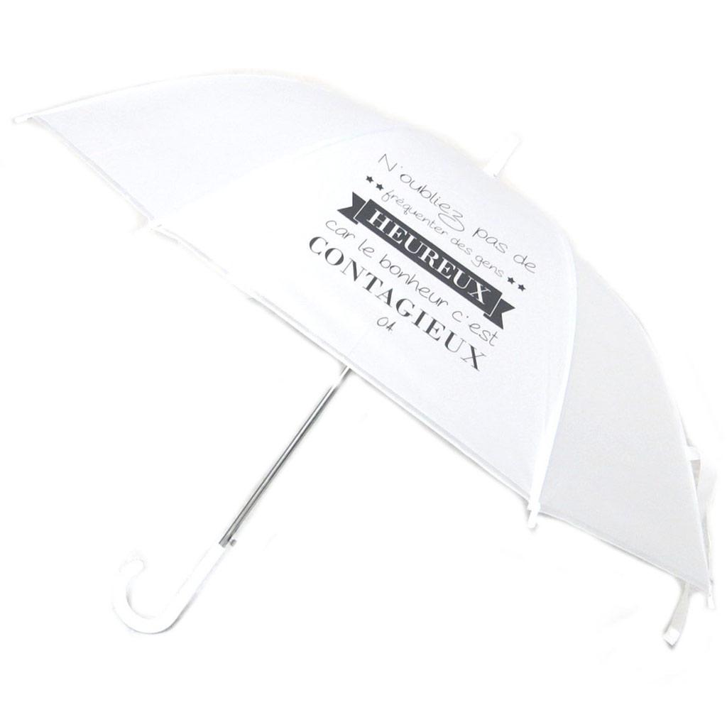 Parapluie canne\'Messages\' blanc (N\'oubliez pas de fréquenter des gens heureux,car le bonheur c\'est contagieux) - 81x15 cm - [P6214]