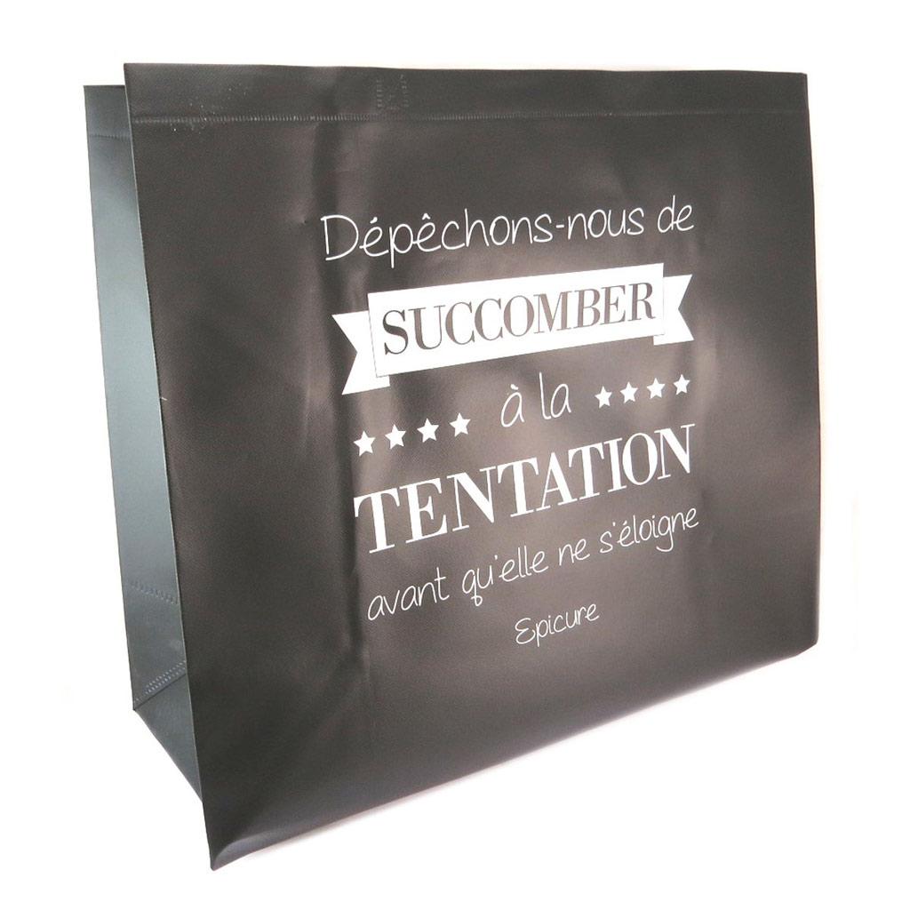Sac shopping XL \'Citations\' noir  (\'Dépêchons nous de succomber à la tentation avant qu\'elle ne s\'éloigne - Epicure\') - 50x48x20 cm - [P6218]