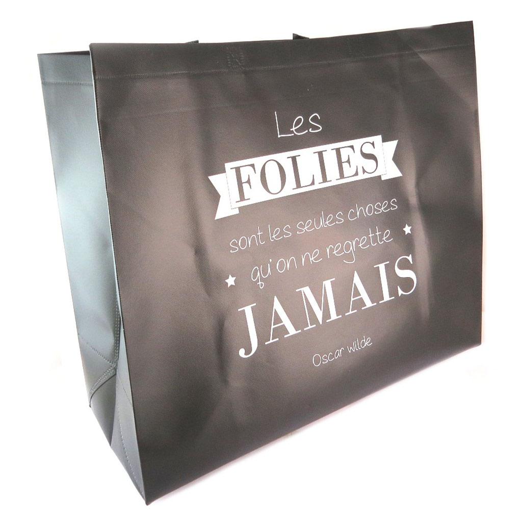 Sac shopping XL \'Citations\' noir  (\'Les folies sont les seules choses qu\'on ne regrette jamais - Oscar Wilde\') - 50x48x20 cm - [P6219]