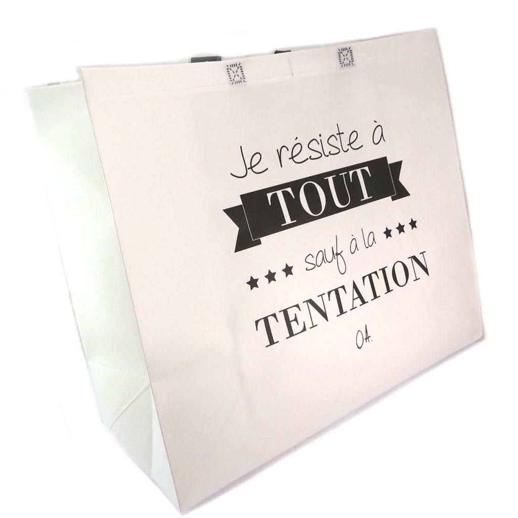 Sac shopping XL \'Citations\' blanc  (\' Je résiste à tout sauf à la tentation\') - 50x48x20 cm - [P6220]