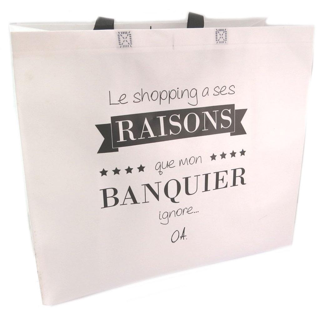 Sac shopping XL \'Citations\' blanc  (\'Le shopping a ses raisons que mon Banquier ignore \') - 50x48x20 cm - [P6221]
